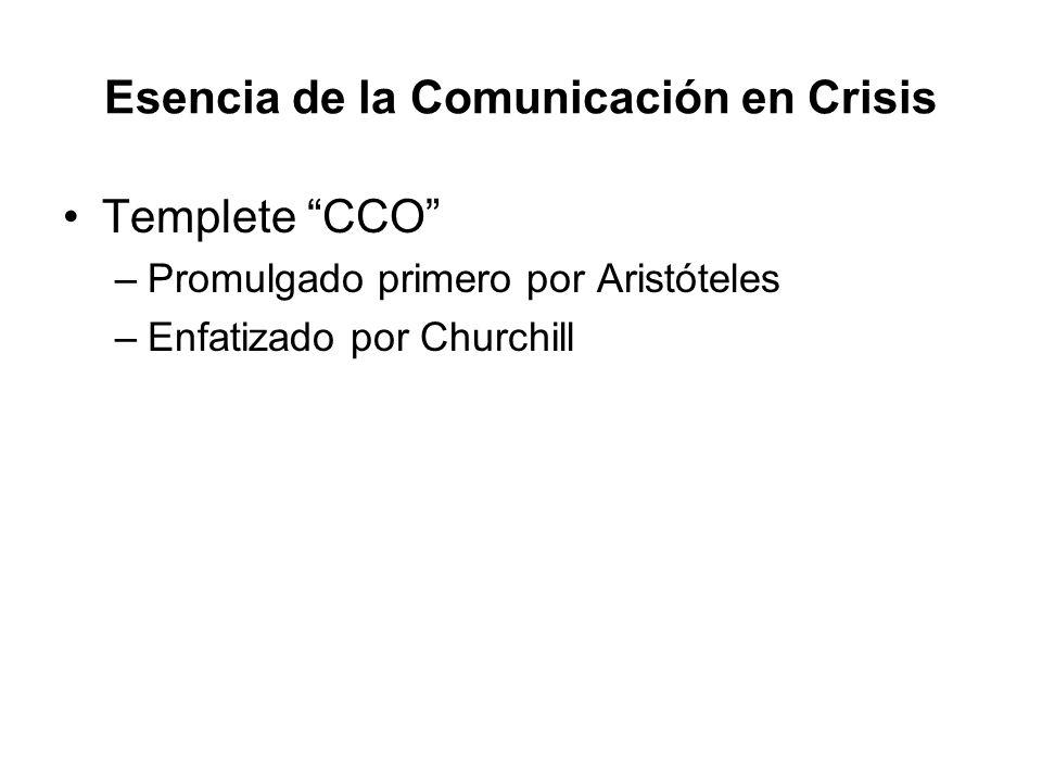 Esencia de la Comunicación en Crisis Templete CCO –Promulgado primero por Aristóteles –Enfatizado por Churchill