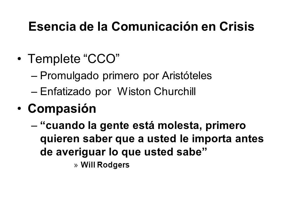 Esencia de la Comunicación en Crisis Templete CCO –Promulgado primero por Aristóteles –Enfatizado por Wiston Churchill Compasión –cuando la gente está