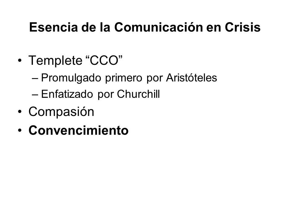 Esencia de la Comunicación en Crisis Templete CCO –Promulgado primero por Aristóteles –Enfatizado por Churchill Compasión Convencimiento