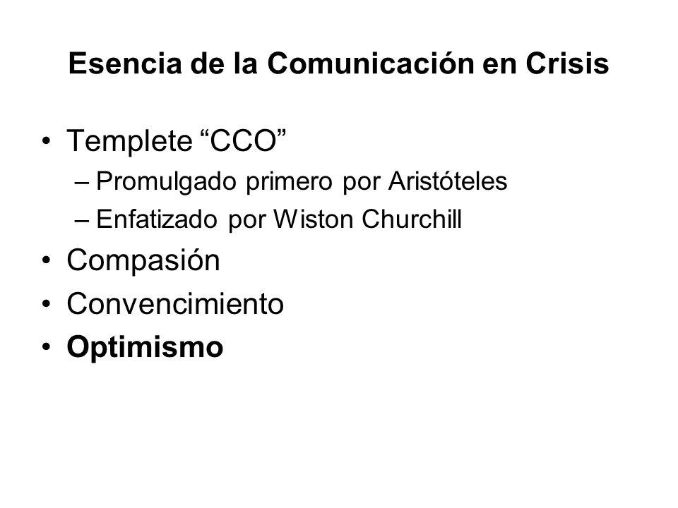Esencia de la Comunicación en Crisis Templete CCO –Promulgado primero por Aristóteles –Enfatizado por Wiston Churchill Compasión Convencimiento Optimi