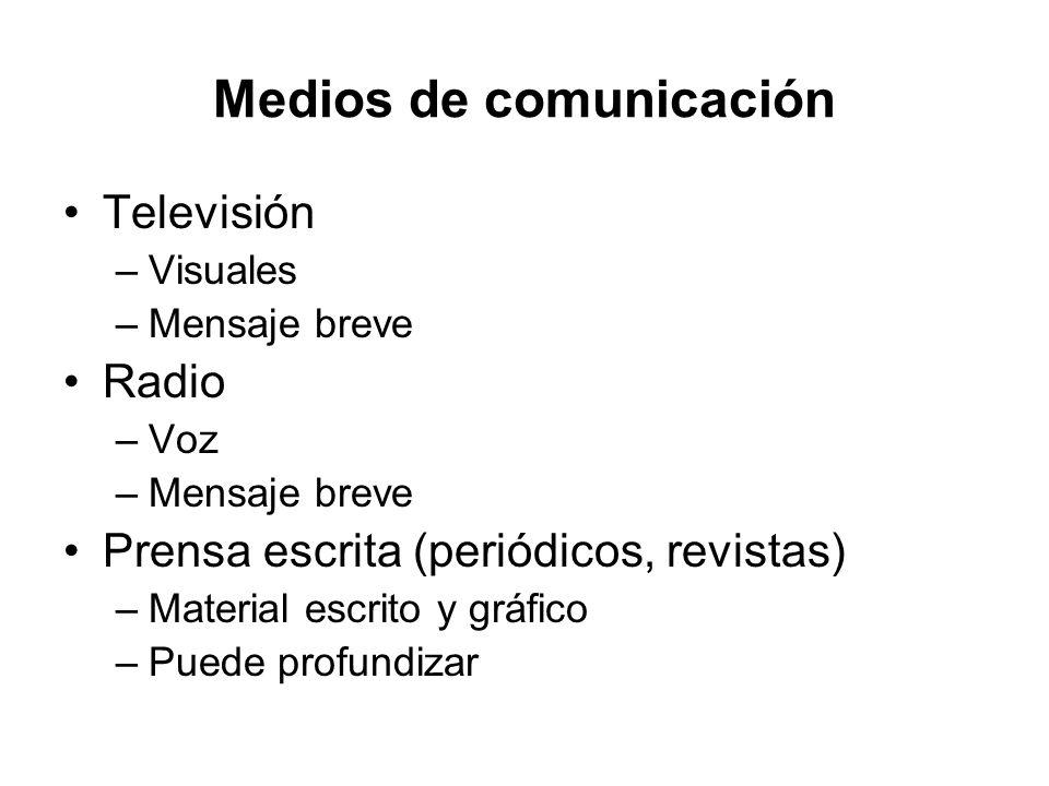Medios de comunicación Televisión –Visuales –Mensaje breve Radio –Voz –Mensaje breve Prensa escrita (periódicos, revistas) –Material escrito y gráfico