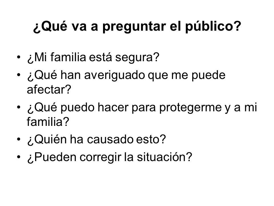 ¿Qué va a preguntar el público? ¿Mi familia está segura? ¿Qué han averiguado que me puede afectar? ¿Qué puedo hacer para protegerme y a mi familia? ¿Q