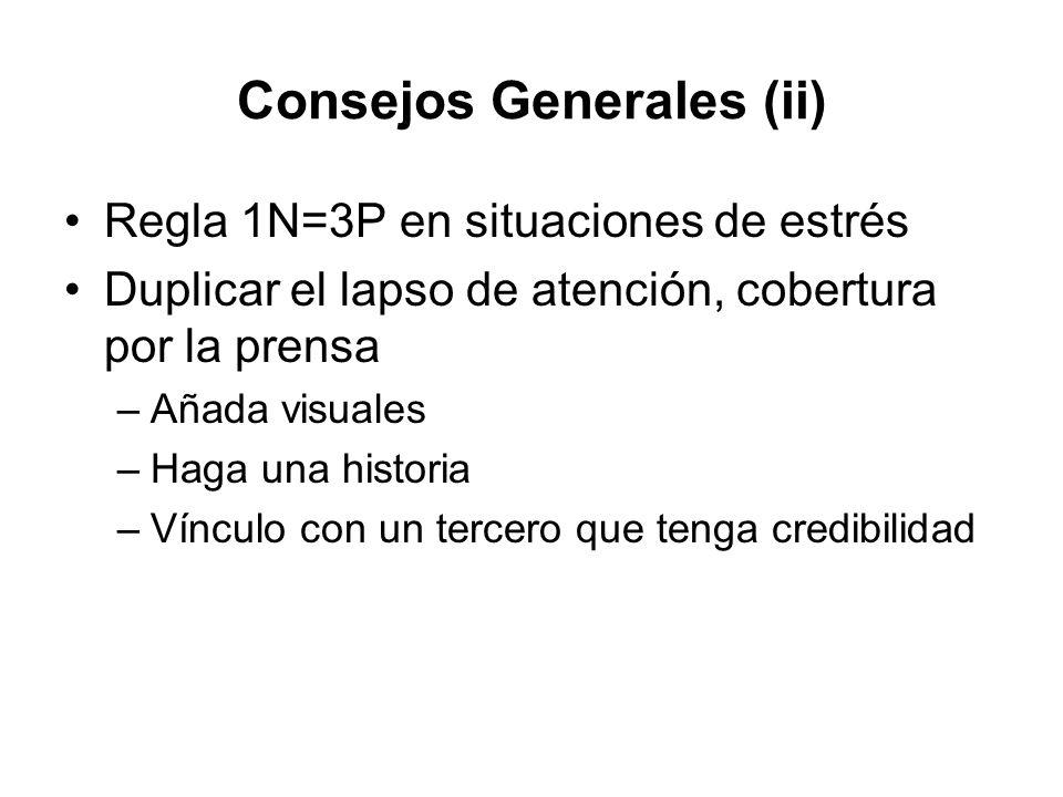 Consejos Generales (ii) Regla 1N=3P en situaciones de estrés Duplicar el lapso de atención, cobertura por la prensa –Añada visuales –Haga una historia