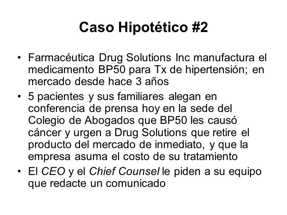Caso Hipotético #2 Farmacéutica Drug Solutions Inc manufactura el medicamento BP50 para Tx de hipertensión; en mercado desde hace 3 años 5 pacientes y