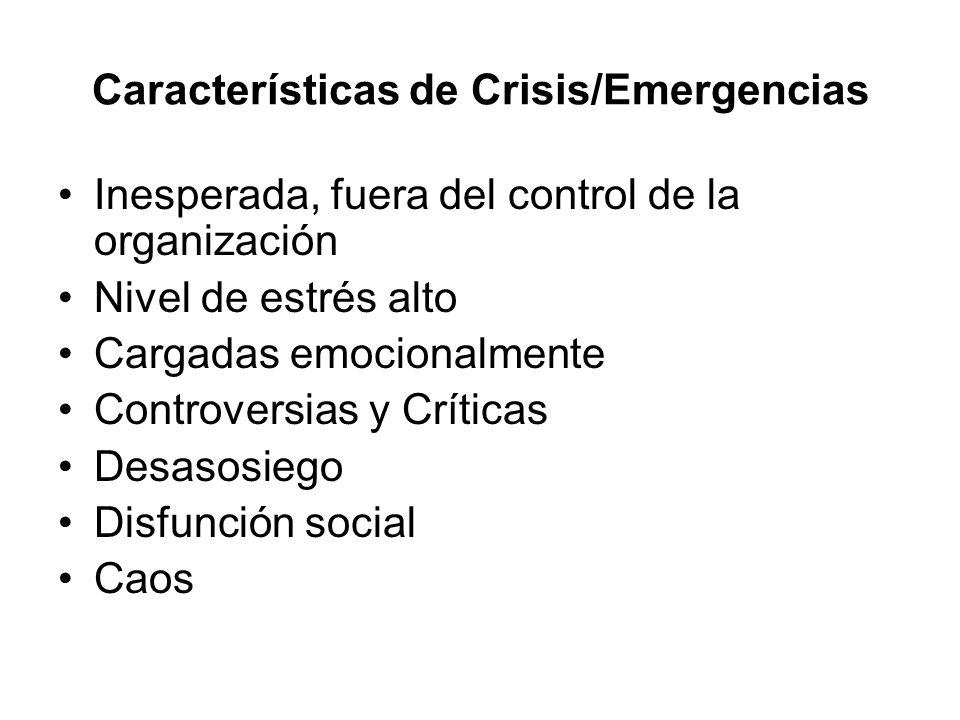 Características de Crisis/Emergencias Inesperada, fuera del control de la organización Nivel de estrés alto Cargadas emocionalmente Controversias y Cr