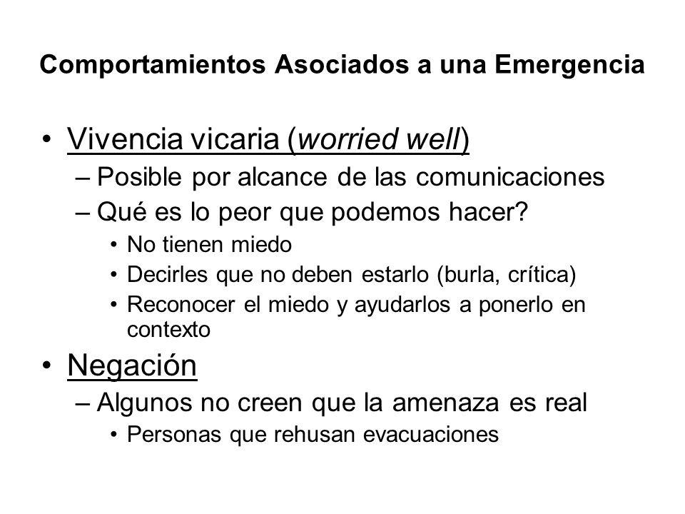 Comportamientos Asociados a una Emergencia Vivencia vicaria (worried well) –Posible por alcance de las comunicaciones –Qué es lo peor que podemos hace