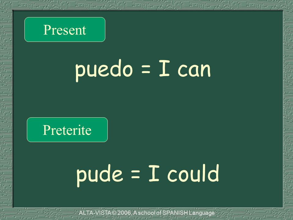 Present Preterite puedo = I can pude = I could ALTA-VISTA © 2006, A school of SPANISH Language