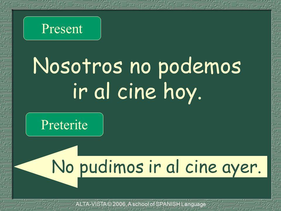 Nosotros no podemos ir al cine hoy. Present Preterite No pudimos ir al cine ayer.
