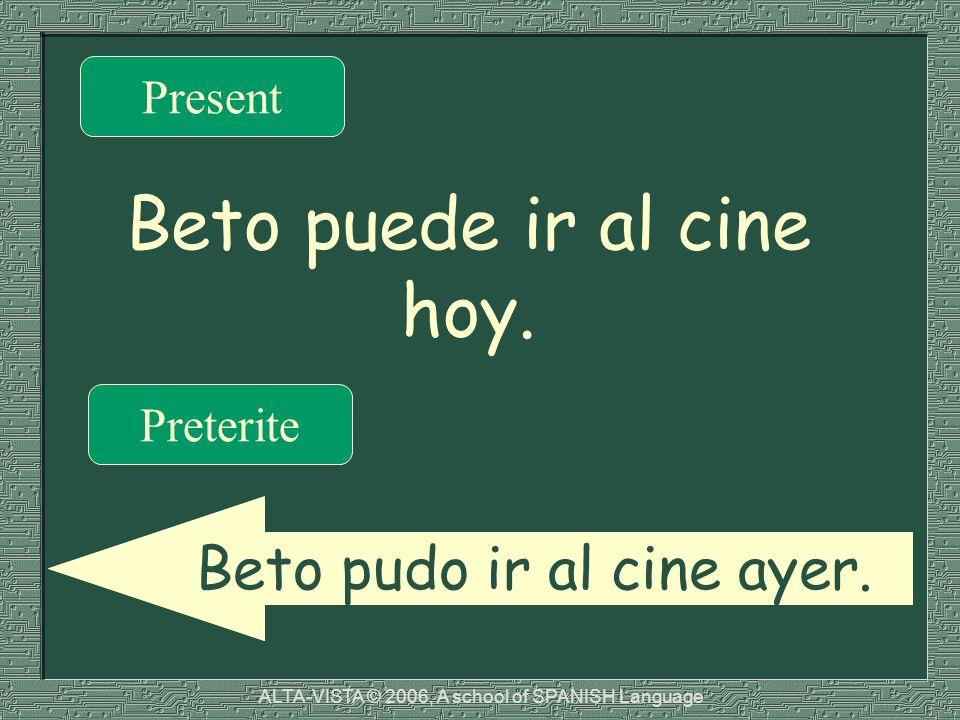 Beto puede ir al cine hoy. Present Preterite Beto pudo ir al cine ayer.