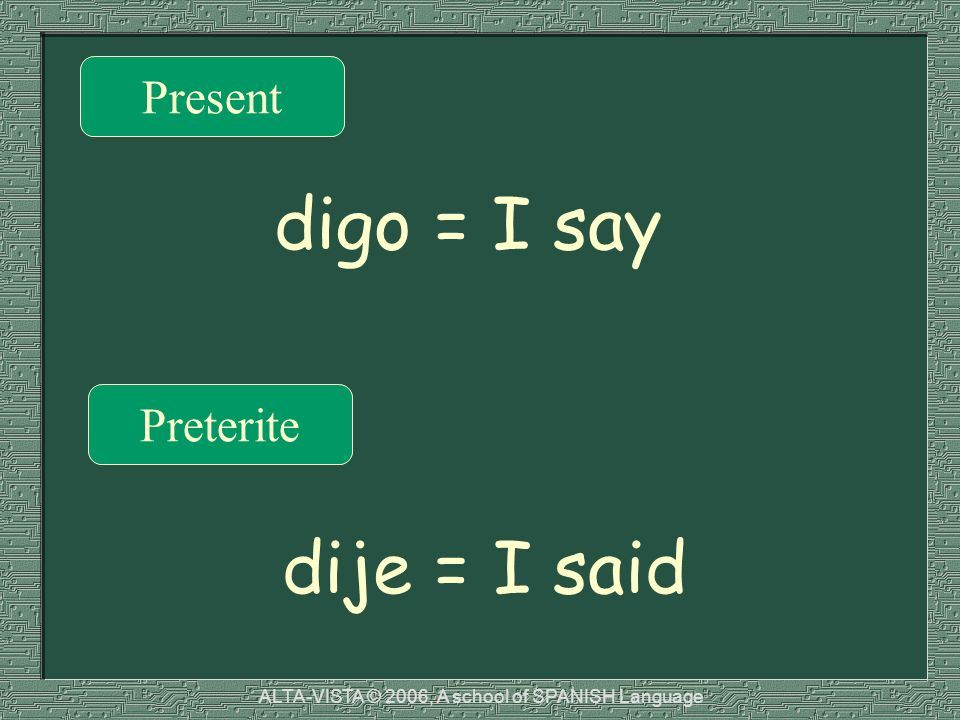 Present Preterite digo = I say dije = I said ALTA-VISTA © 2006, A school of SPANISH Language