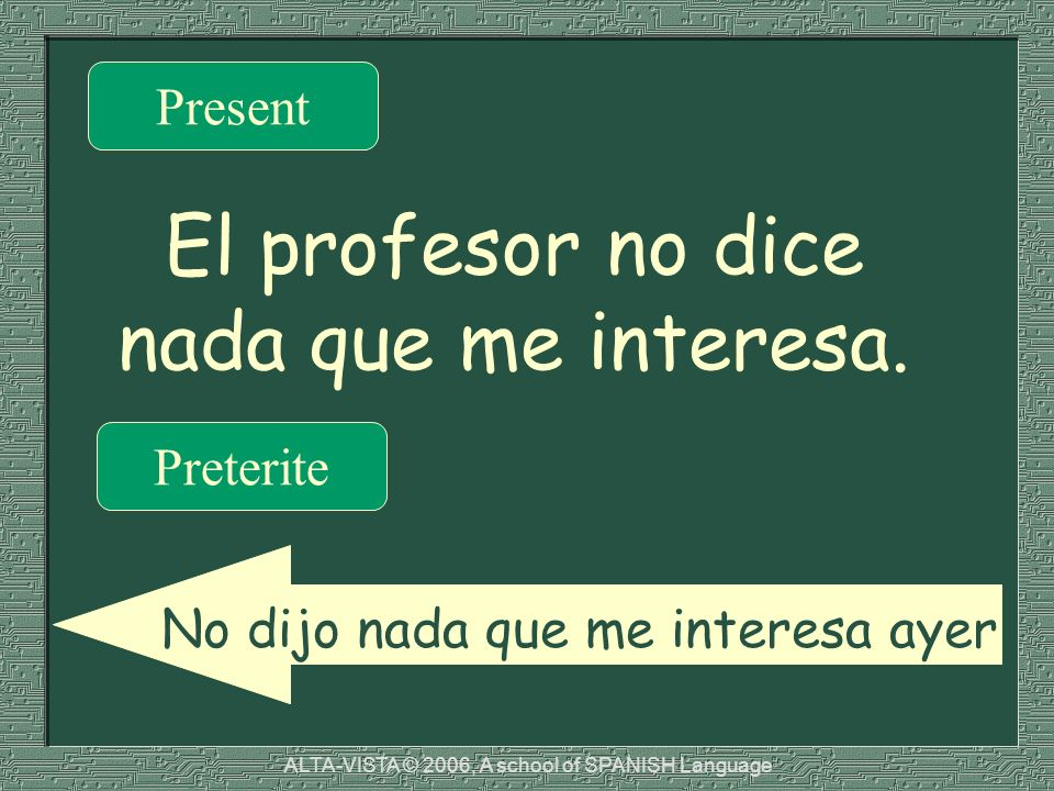 El profesor no dice nada que me interesa. Present Preterite No dijo nada que me interesa ayer. ALTA-VISTA © 2006, A school of SPANISH Language