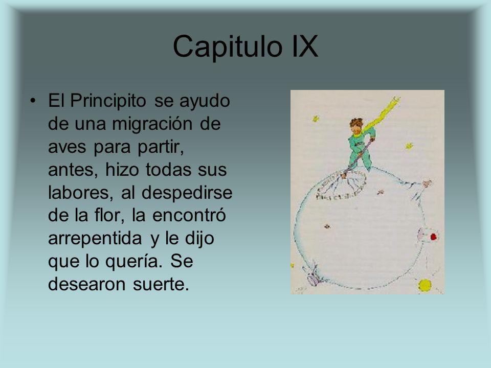 Capitulo IX El Principito se ayudo de una migración de aves para partir, antes, hizo todas sus labores, al despedirse de la flor, la encontró arrepent