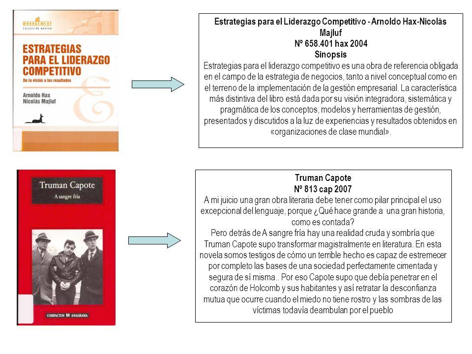 Estrategias para el Liderazgo Competitivo - Arnoldo Hax-Nicolás Majluf Nº 658.401 hax 2004 Sinopsis Estrategias para el liderazgo competitivo es una obra de referencia obligada en el campo de la estrategia de negocios, tanto a nivel conceptual como en el terreno de la implementación de la gestión empresarial.