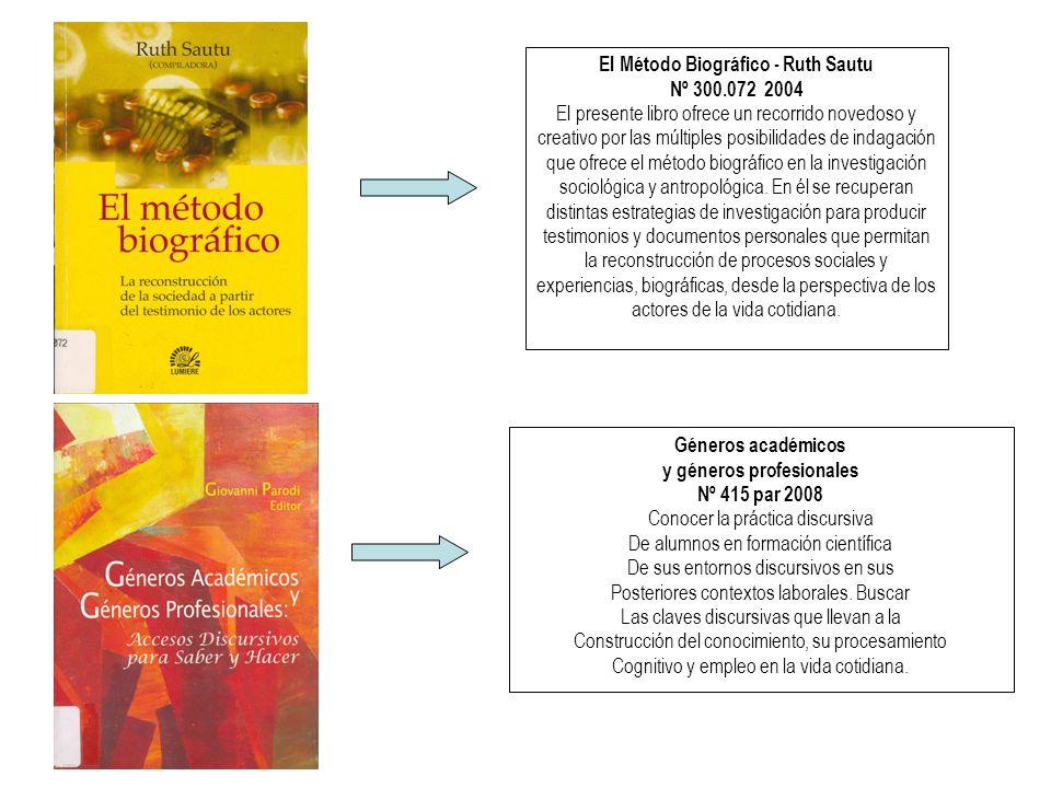 El Método Biográfico - Ruth Sautu Nº 300.072 2004 El presente libro ofrece un recorrido novedoso y creativo por las múltiples posibilidades de indagación que ofrece el método biográfico en la investigación sociológica y antropológica.