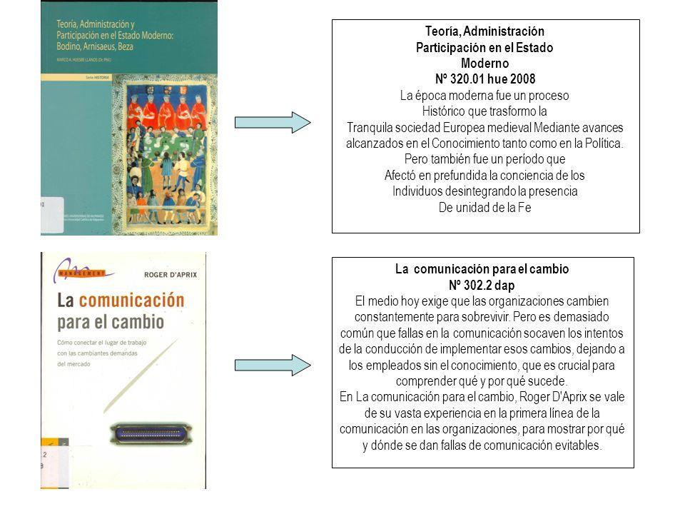 Teoría, Administración Participación en el Estado Moderno Nº 320.01 hue 2008 La época moderna fue un proceso Histórico que trasformo la Tranquila sociedad Europea medieval Mediante avances alcanzados en el Conocimiento tanto como en la Política.