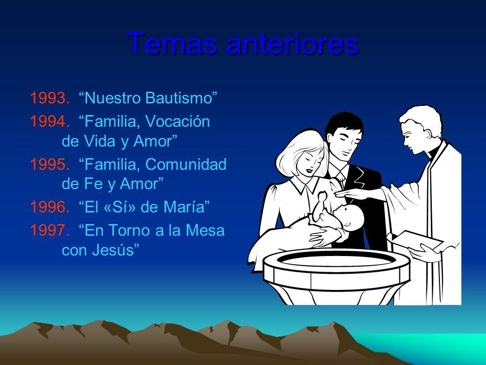 Temas anteriores 1993. Nuestro Bautismo 1994. Familia, Vocación de Vida y Amor 1995. Familia, Comunidad de Fe y Amor 1996. El «Sí» de María 1997. En T