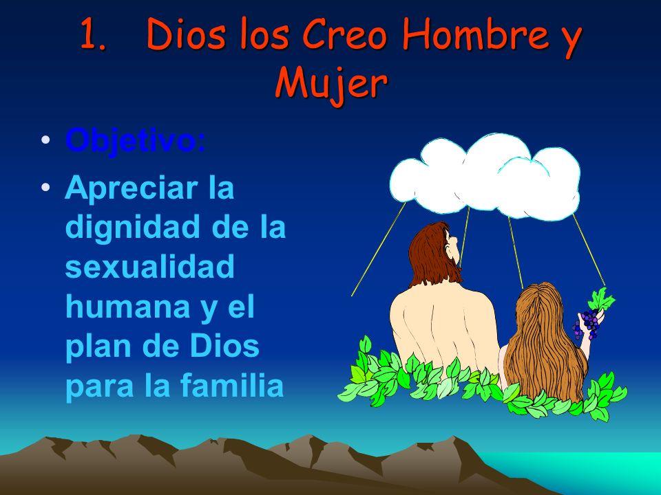 1.Dios los Creo Hombre y Mujer Objetivo: Apreciar la dignidad de la sexualidad humana y el plan de Dios para la familia
