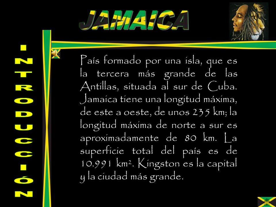 País formado por una isla, que es la tercera más grande de las Antillas, situada al sur de Cuba. Jamaica tiene una longitud máxima, de este a oeste, d