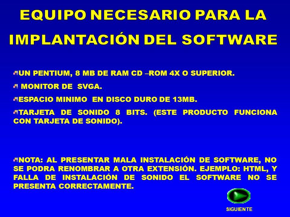 UN PENTIUM, 8 MB DE RAM CD –ROM 4X O SUPERIOR. MONITOR DE SVGA. ESPACIO MINIMO EN DISCO DURO DE 13MB. TARJETA DE SONIDO 8 BITS. (ESTE PRODUCTO FUNCION