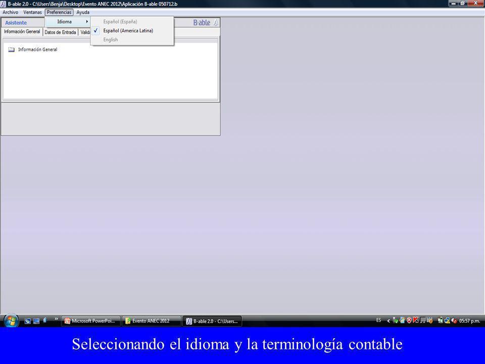 Seleccionando el idioma y la terminología contable
