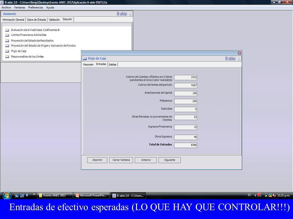 Entradas de efectivo esperadas (LO QUE HAY QUE CONTROLAR!!!)
