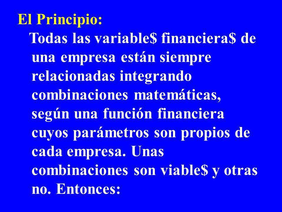 El Principio: Todas las variable$ financiera$ de una empresa están siempre relacionadas integrando combinaciones matemáticas, según una función financiera cuyos parámetros son propios de cada empresa.