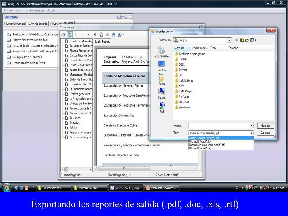 Exportando los reportes de salida (.pdf,.doc,.xls,.rtf)