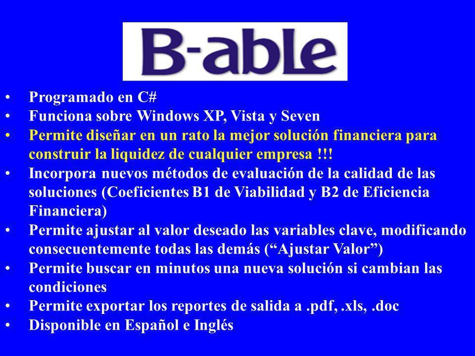 Programado en C# Funciona sobre Windows XP, Vista y Seven Permite diseñar en un rato la mejor solución financiera para construir la liquidez de cualquier empresa !!.