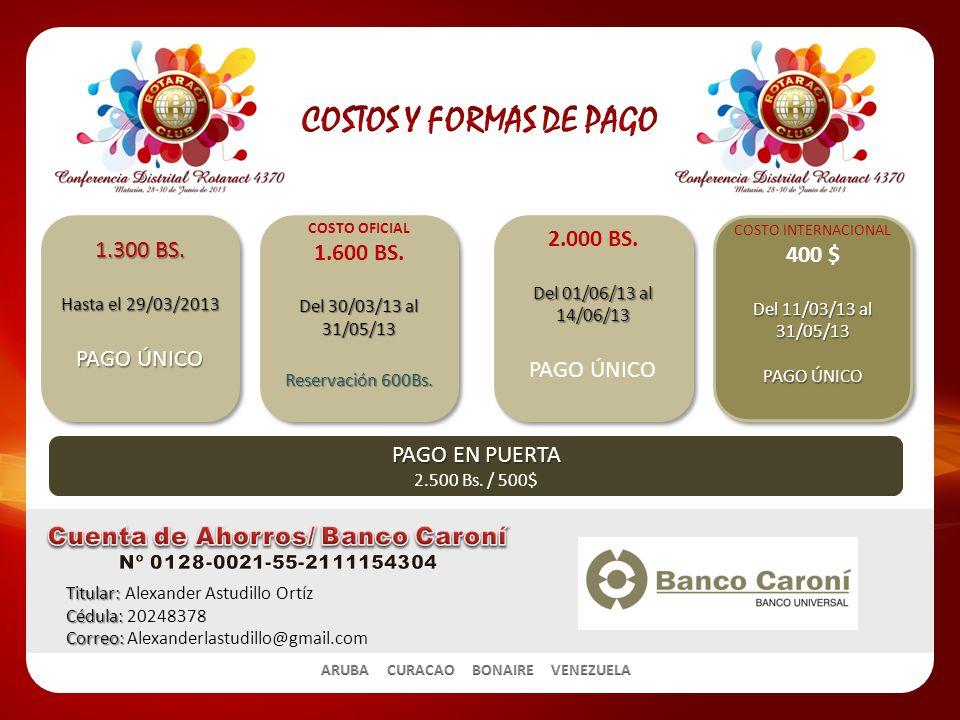 Titular: Titular: Alexander Astudillo Ortíz Cédula: Cédula: 20248378 Correo: Correo: Alexanderlastudillo@gmail.com 1.300 BS.