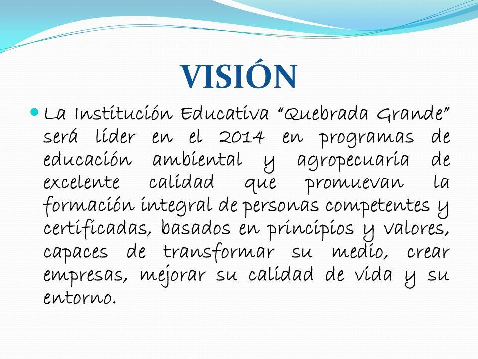 VISIÓN La Institución Educativa Quebrada Grande será líder en el 2014 en programas de educación ambiental y agropecuaria de excelente calidad que prom