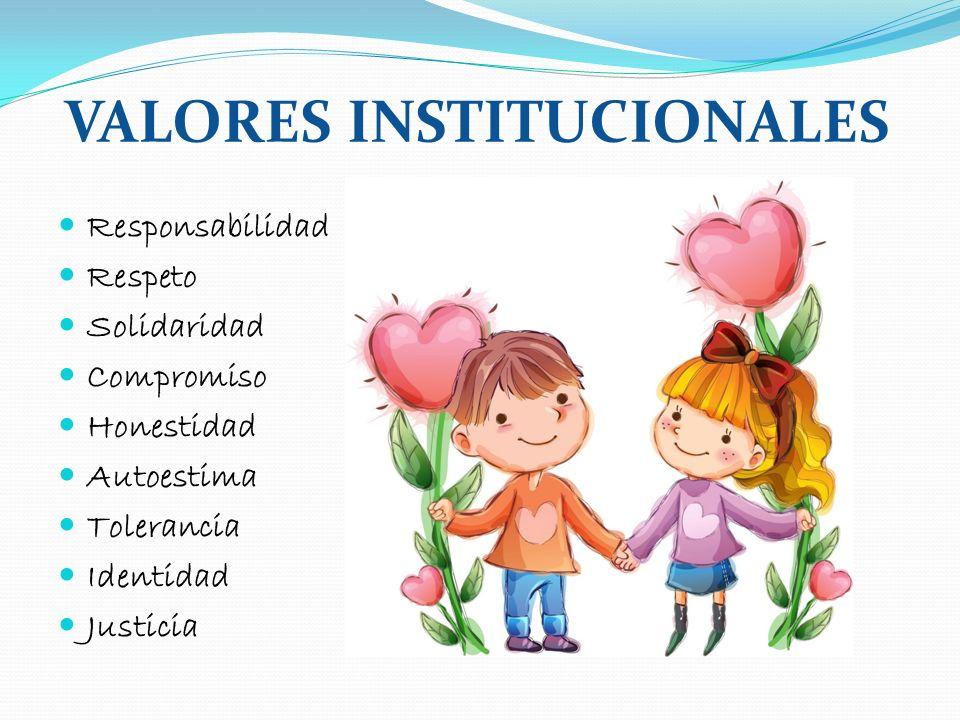 VALORES INSTITUCIONALES Responsabilidad Respeto Solidaridad Compromiso Honestidad Autoestima Tolerancia Identidad Justicia
