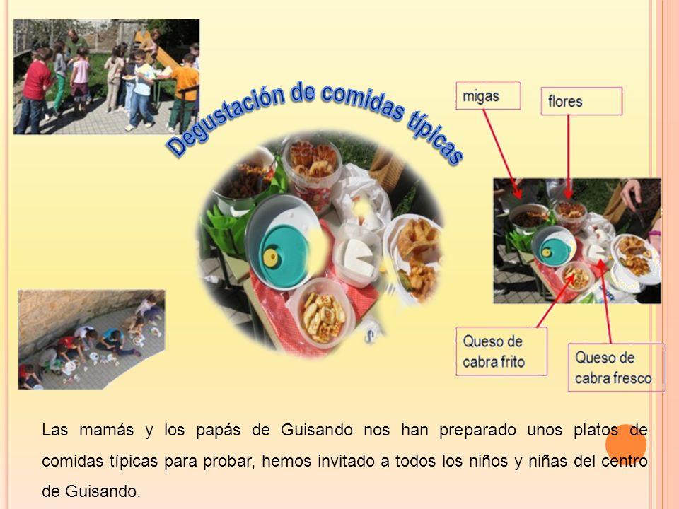 Las mamás y los papás de Guisando nos han preparado unos platos de comidas típicas para probar, hemos invitado a todos los niños y niñas del centro de Guisando.