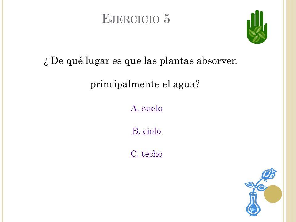 C. INCORRECTO Aunque si necesitan agua y aire, las plantas no toman jugo.