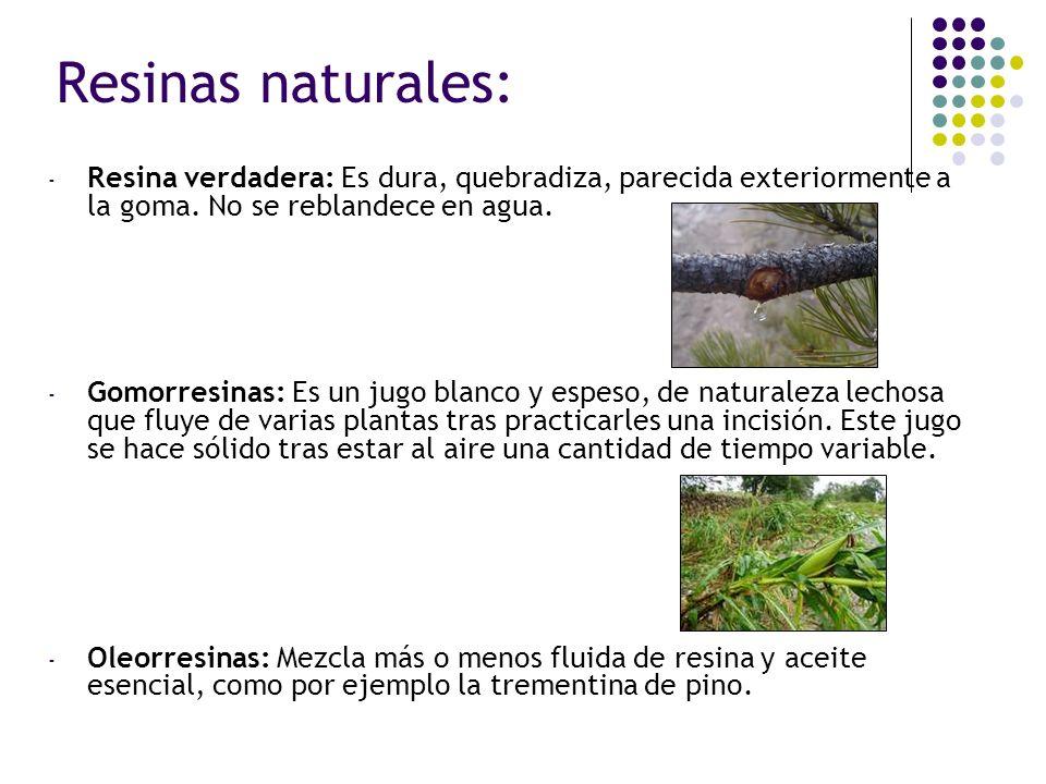 - Bálsamos: es una secreción vegetal compuesta de resina, ácidos aromáticos, alcoholes y esteres, por ejemplo el incienso.