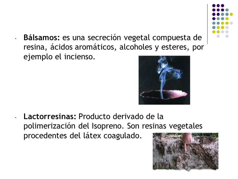 - Bálsamos: es una secreción vegetal compuesta de resina, ácidos aromáticos, alcoholes y esteres, por ejemplo el incienso. - Lactorresinas: Producto d