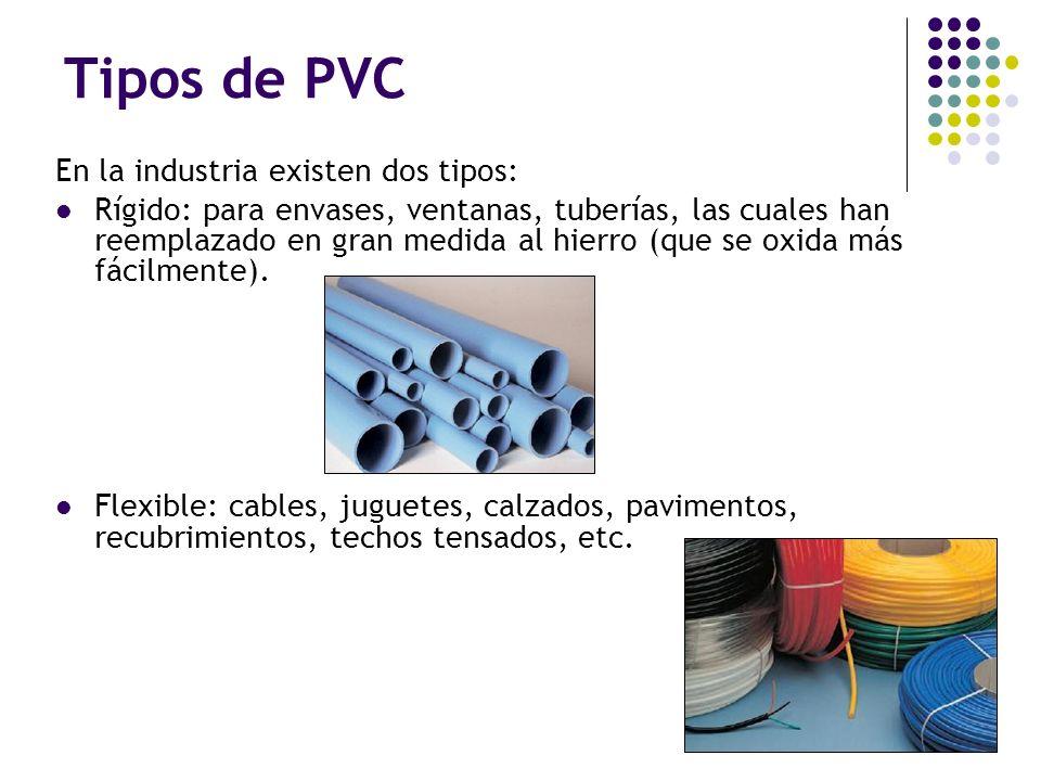 Tipos de PVC En la industria existen dos tipos: Rígido: para envases, ventanas, tuberías, las cuales han reemplazado en gran medida al hierro (que se