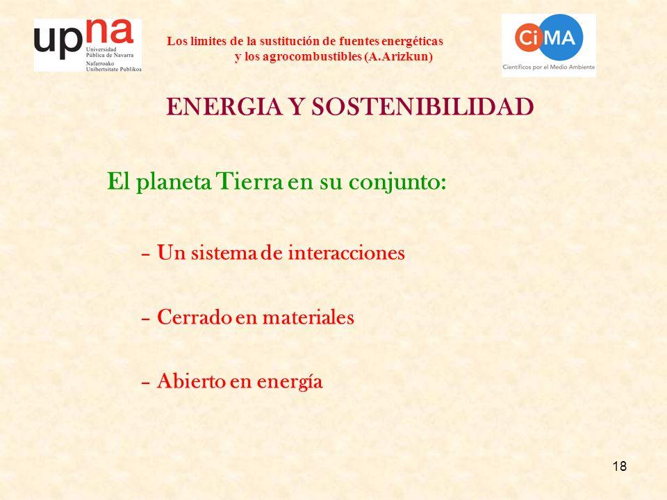 18 Los limites de la sustitución de fuentes energéticas y los agrocombustibles (A.Arizkun) ENERGIA Y SOSTENIBILIDAD El planeta Tierra en su conjunto: –Un sistema de interacciones –Cerrado en materiales –Abierto en energía
