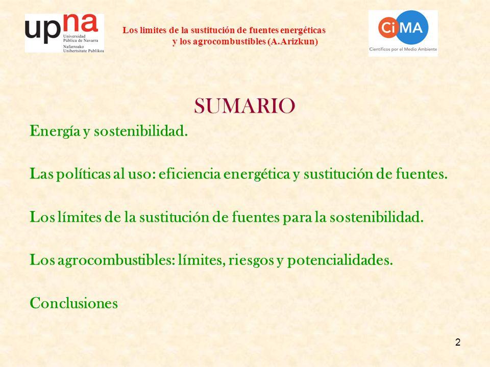 2 Los limites de la sustitución de fuentes energéticas y los agrocombustibles (A.Arizkun) SUMARIO Energía y sostenibilidad. Las políticas al uso: efic