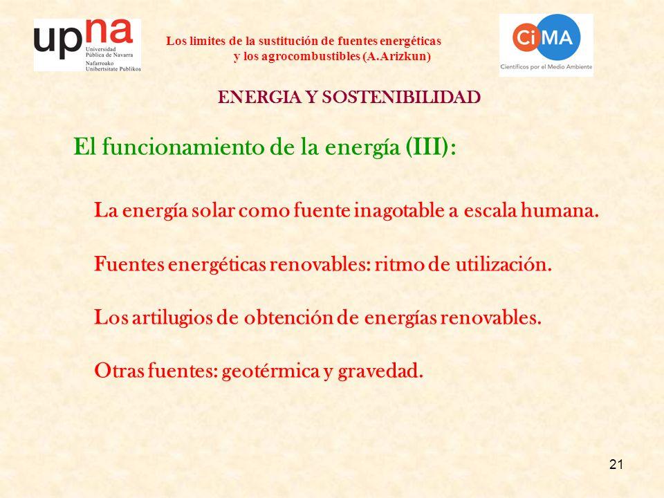 21 Los limites de la sustitución de fuentes energéticas y los agrocombustibles (A.Arizkun) ENERGIA Y SOSTENIBILIDAD El funcionamiento de la energía (III): La energía solar como fuente inagotable a escala humana.