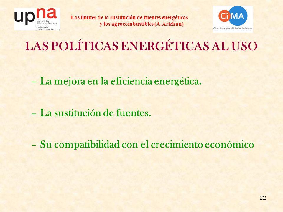 22 Los limites de la sustitución de fuentes energéticas y los agrocombustibles (A.Arizkun) LAS POLÍTICAS ENERGÉTICAS AL USO –La mejora en la eficiencia energética.