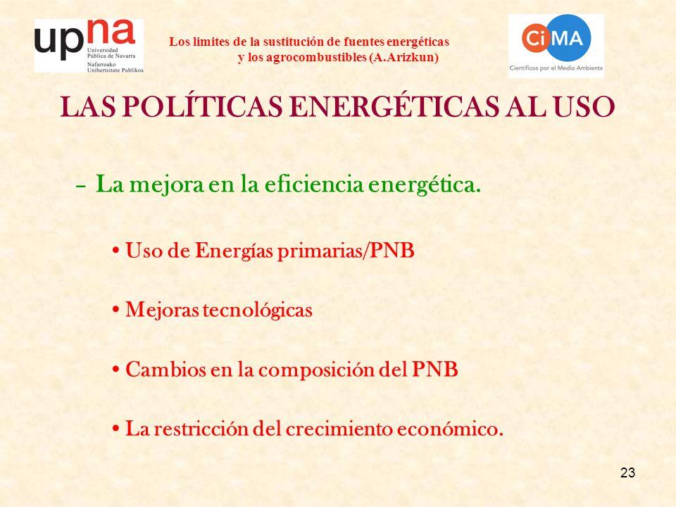 23 Los limites de la sustitución de fuentes energéticas y los agrocombustibles (A.Arizkun) LAS POLÍTICAS ENERGÉTICAS AL USO –La mejora en la eficienci