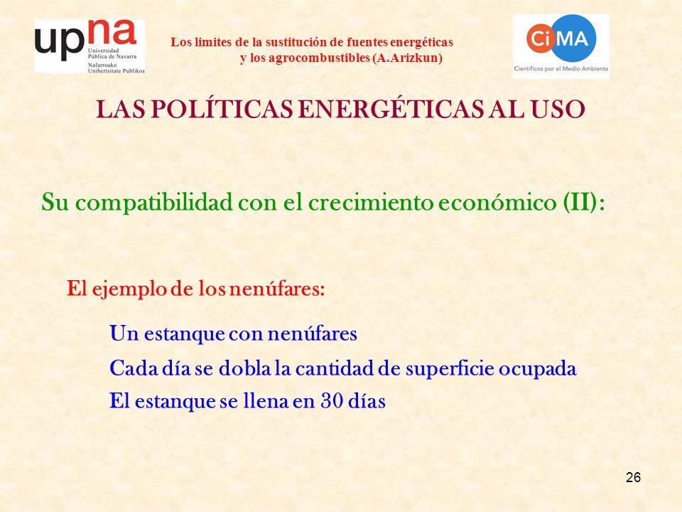 26 Los limites de la sustitución de fuentes energéticas y los agrocombustibles (A.Arizkun) LAS POLÍTICAS ENERGÉTICAS AL USO Su compatibilidad con el c