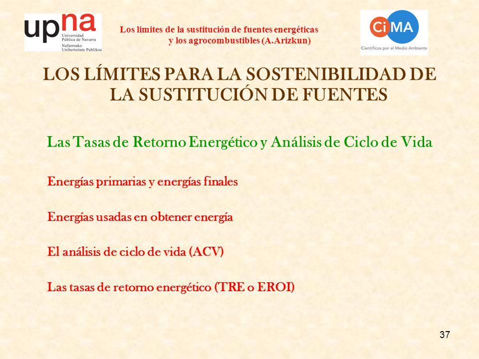 37 Los limites de la sustitución de fuentes energéticas y los agrocombustibles (A.Arizkun) LOS LÍMITES PARA LA SOSTENIBILIDAD DE LA SUSTITUCIÓN DE FUE