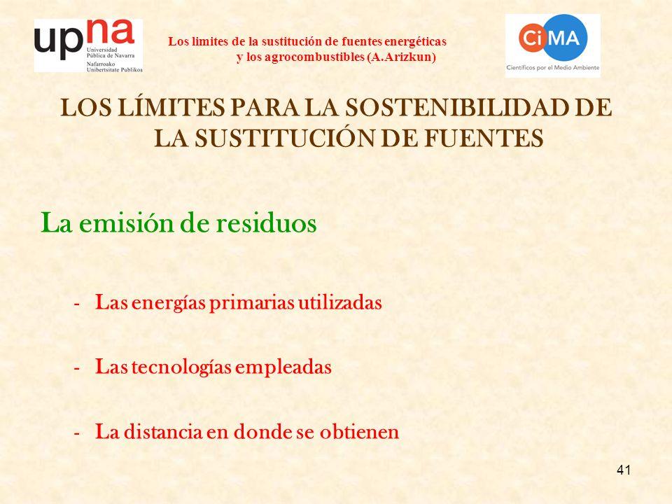 41 Los limites de la sustitución de fuentes energéticas y los agrocombustibles (A.Arizkun) LOS LÍMITES PARA LA SOSTENIBILIDAD DE LA SUSTITUCIÓN DE FUE