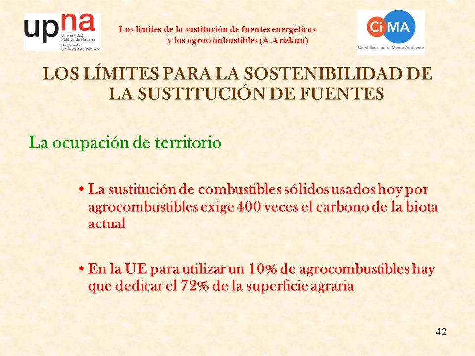 42 Los limites de la sustitución de fuentes energéticas y los agrocombustibles (A.Arizkun) LOS LÍMITES PARA LA SOSTENIBILIDAD DE LA SUSTITUCIÓN DE FUE