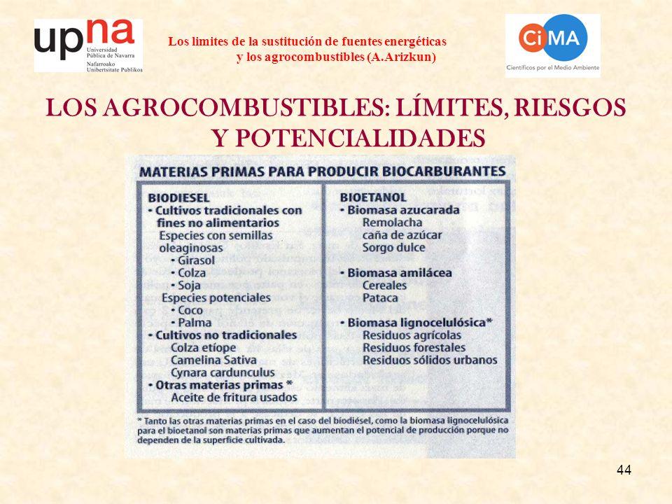 44 Los limites de la sustitución de fuentes energéticas y los agrocombustibles (A.Arizkun) LOS AGROCOMBUSTIBLES: LÍMITES, RIESGOS Y POTENCIALIDADES