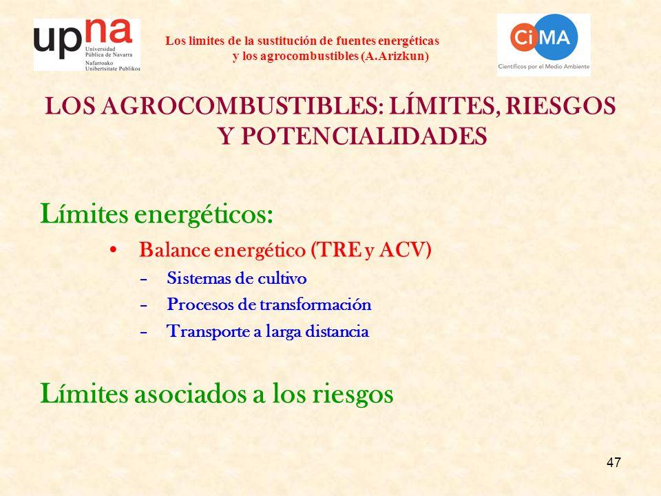 47 Los limites de la sustitución de fuentes energéticas y los agrocombustibles (A.Arizkun) LOS AGROCOMBUSTIBLES: LÍMITES, RIESGOS Y POTENCIALIDADES Límites energéticos: Balance energético (TRE y ACV) –Sistemas de cultivo –Procesos de transformación –Transporte a larga distancia Límites asociados a los riesgos