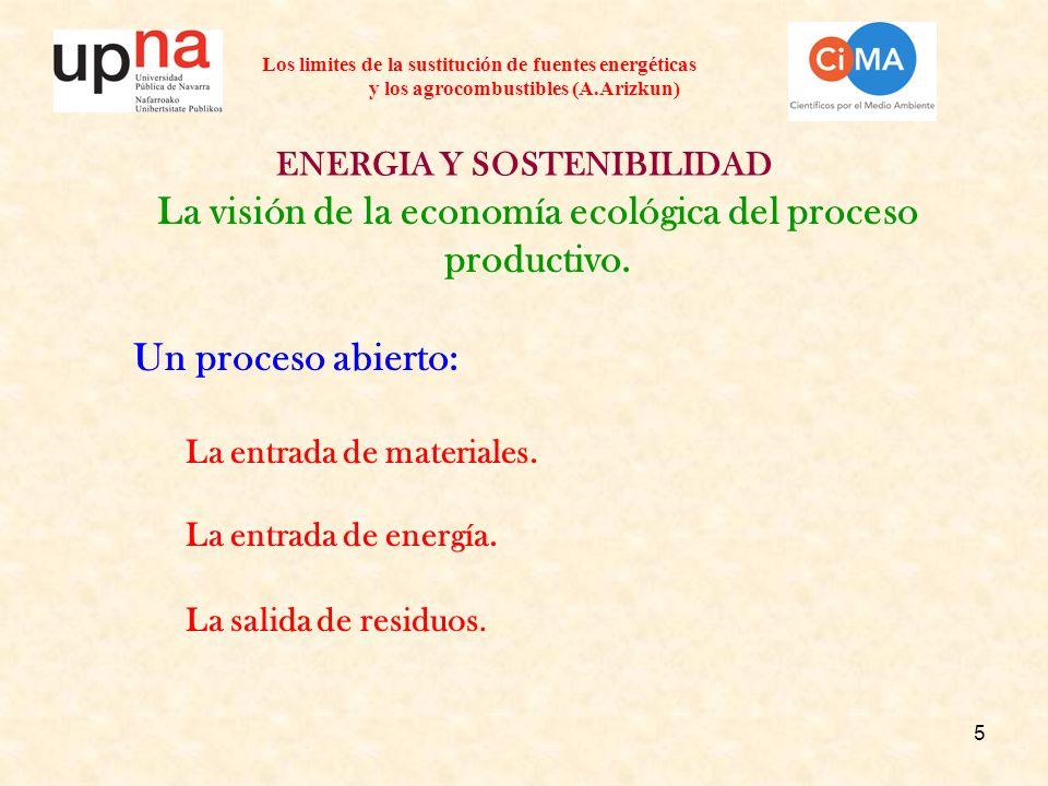 5 ENERGIA Y SOSTENIBILIDAD La visión de la economía ecológica del proceso productivo. Un proceso abierto: La entrada de materiales. La entrada de ener