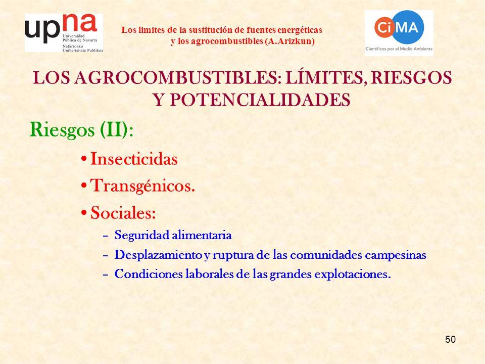 50 Los limites de la sustitución de fuentes energéticas y los agrocombustibles (A.Arizkun) LOS AGROCOMBUSTIBLES: LÍMITES, RIESGOS Y POTENCIALIDADES Riesgos (II): Insecticidas Transgénicos.