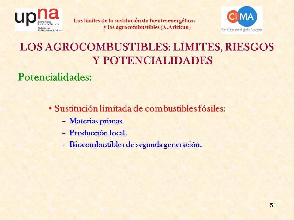 51 Los limites de la sustitución de fuentes energéticas y los agrocombustibles (A.Arizkun) LOS AGROCOMBUSTIBLES: LÍMITES, RIESGOS Y POTENCIALIDADES Potencialidades: Sustitución limitada de combustibles fósiles: –Materias primas.